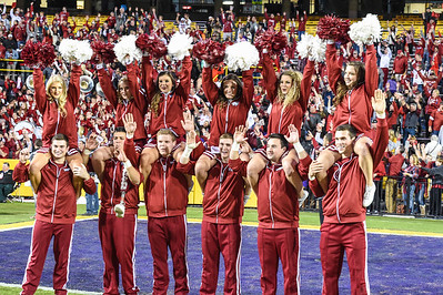 Arkansas Cheerleaders celebrate after winning a football game between Arkansas and LSU on November 14, 2015.    (Alan Jamison, Nate Allen Sports Service)