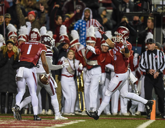 Arkansas Razorbacks wide receiver Jared Cornelius (1) celebrates a receiving touchdown during a football game between Arkansas and Mississippi State on November 21, 2015.    (Alan Jamison, Nate Allen Sports Service)