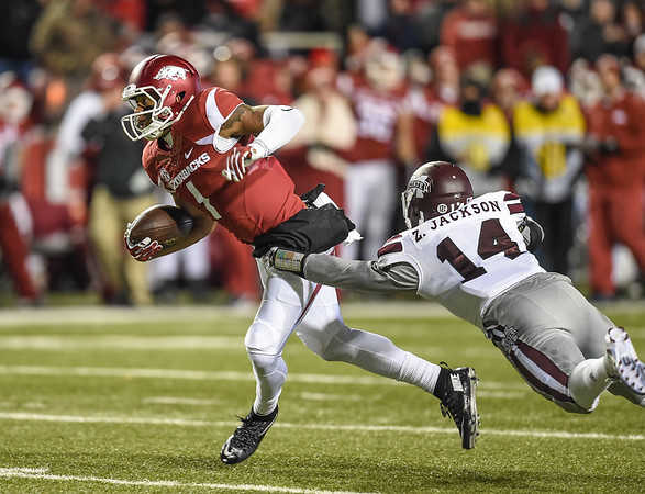 Arkansas Razorbacks wide receiver Jared Cornelius (1) with a pass reception during a football game between Arkansas and Mississippi State on November 21, 2015.    (Alan Jamison, Nate Allen Sports Service)
