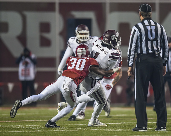 Arkansas Razorbacks defensive back Kevin Richardson (30) with a tackle during a football game between Arkansas and Mississippi State on November 21, 2015.    (Alan Jamison, Nate Allen Sports Service)
