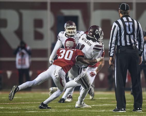 Arkansas Razorbacks defensive back Kevin Richardson (30) with a tackle during a football game between Arkansas and Mississippi State on November 21, 2015.    (Alan Jamison, Nate Allen Sports Service)