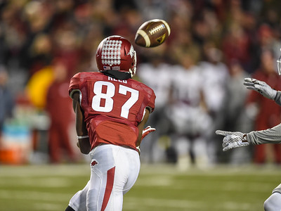Arkansas Razorbacks wide receiver Dominique Reed (87) with a reception during a football game between Arkansas and Mississippi State on November 21, 2015.    (Alan Jamison, Nate Allen Sports Service)