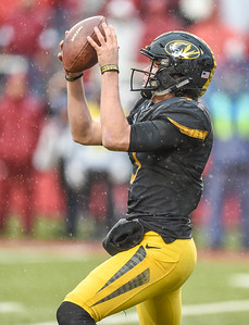 Missouri Tigers quarterback Drew Lock (3) handles a high snap during a football game between Arkansas and Missouri on November 27, 2015.    (Alan Jamison, Nate Allen Sports Service)