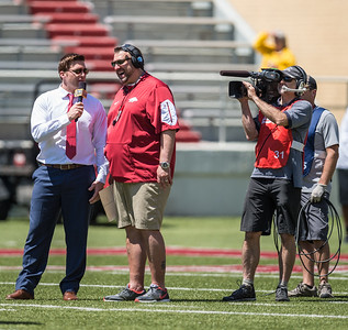 Head Coach Bret Bielema is interviewed by ESPN analyst Clint Stoerner during the Arkansas Razorback Spring Football Game on 4/23/2016.   (Alan Jamison, Nate Allen Sports Service)