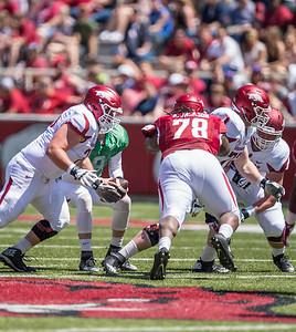 Bijhon Jackson attacks the line during the Arkansas Razorback Spring Football Game on 4/23/2016.   (Alan Jamison, Nate Allen Sports Service)