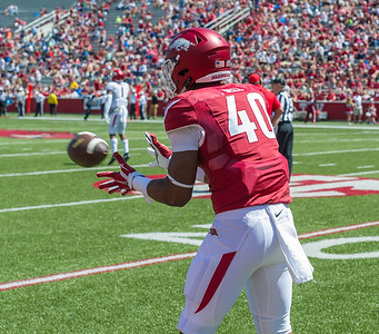 Jamario Bell catches the ball during warm-ups before the Arkansas Razorback Spring Football Game on 4/23/2016.   (Alan Jamison, Nate Allen Sports Service)