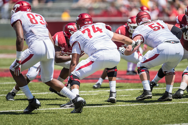 Left side of the offensive line during the Arkansas Razorback Spring Football Game on 4/23/2016.   (Alan Jamison, Nate Allen Sports Service)