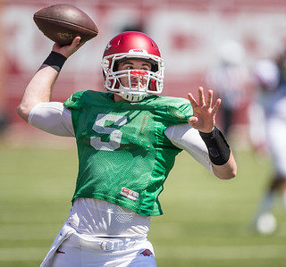 Ty Storey warms up before the Arkansas Razorback Spring Football Game on 4/23/2016.   (Alan Jamison, Nate Allen Sports Service)