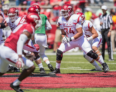 Colton Jackson protects the line during the Arkansas Razorback Spring Football Game on 4/23/2016.   (Alan Jamison, Nate Allen Sports Service)