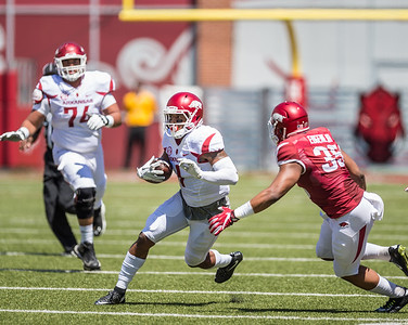 Jared Cornelius carries during the Arkansas Razorback Spring Football Game on 4/23/2016.   (Alan Jamison, Nate Allen Sports Service)