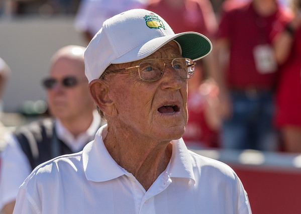Lou Holtz on the sideline during a football game between the Arkansas Razorbacks and the Louisiana Tech Bulldogs on Saturday, September 3, 2016.  (Alan Jamison, Nate Allen Sports Service)