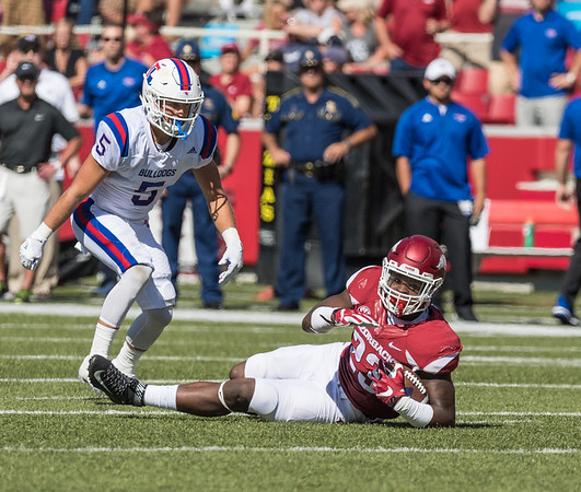 Arkansas Razorbacks linebacker Dre Greenlaw (23) with an interception during a football game between the Arkansas Razorbacks and the Louisiana Tech Bulldogs on Saturday, September 3, 2016.  (Alan Jamison, Nate Allen Sports Service)
