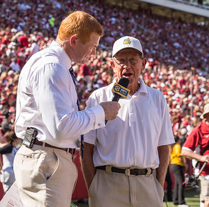 Lou Holtz being interviewed during a football game between the Arkansas Razorbacks and the Louisiana Tech Bulldogs on Saturday, September 3, 2016.  (Alan Jamison, Nate Allen Sports Service)