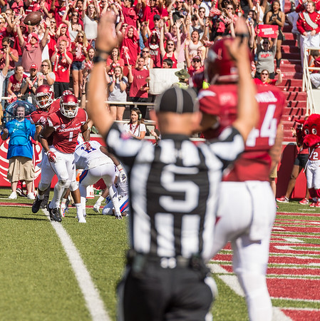 Arkansas Razorbacks wide receiver Jared Cornelius (1) scores during a football game between the Arkansas Razorbacks and the Louisiana Tech Bulldogs on Saturday, September 3, 2016.  (Alan Jamison, Nate Allen Sports Service)