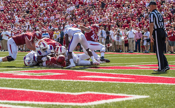 Arkansas Razorbacks running back Rawleigh Williams III (22) scores during a football game between the Arkansas Razorbacks and the Louisiana Tech Bulldogs on Saturday, September 3, 2016.  (Alan Jamison, Nate Allen Sports Service)