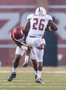 Arkansas Razorbacks linebacker Dre Greenlaw (23) tackles Texas State Bobcats running back Stedman Mayberry (26) during a football game between the Arkansas Razorbacks and the Texas State Bobcats on Saturday, September 17, 2016.  (Alan Jamison, Nate Allen Sports Service)