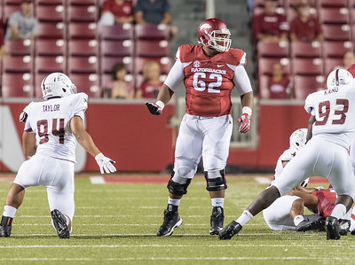 Arkansas Razorbacks offensive lineman Johnny Gibson (62) during a football game between the Arkansas Razorbacks and the Texas State Bobcats on Saturday, September 17, 2016.  (Alan Jamison, Nate Allen Sports Service)