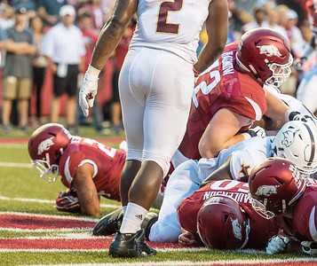 Arkansas Razorbacks running back Kody Walker (24) with a rush for a touchdown during a football game between the Arkansas Razorbacks and the Texas State Bobcats on Saturday, September 17, 2016.  (Alan Jamison, Nate Allen Sports Service)