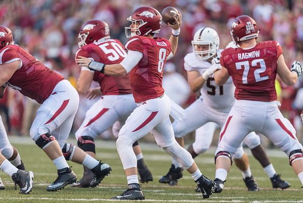 Arkansas Razorbacks quarterback Austin Allen (8) passes during a football game between the Arkansas Razorbacks and the Texas State Bobcats on Saturday, September 17, 2016.  (Alan Jamison, Nate Allen Sports Service)
