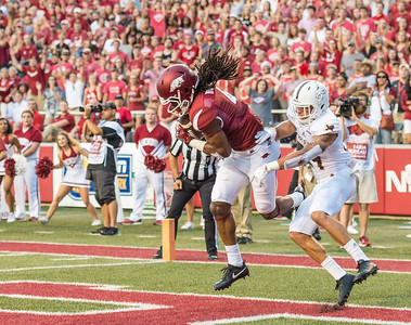 Arkansas Razorbacks wide receiver Keon Hatcher (4) with a touchdown catch during a football game between the Arkansas Razorbacks and the Texas State Bobcats on Saturday, September 17, 2016.  (Alan Jamison, Nate Allen Sports Service)