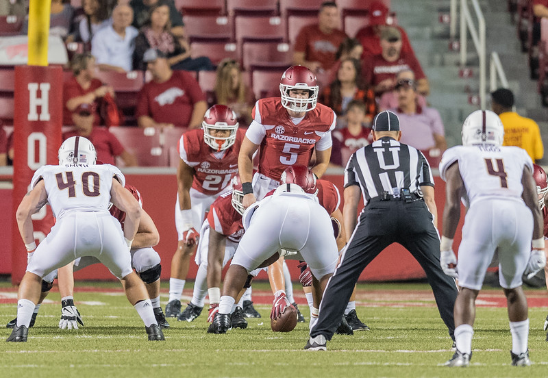 Arkansas Razorbacks quarterback Ty Storey (5) lines up a quarterback with Devwah Whaley (21) in the backfield during a football game between the Arkansas Razorbacks and the Texas State Bobcats on Saturday, September 17, 2016.  (Alan Jamison, Nate Allen Sports Service)