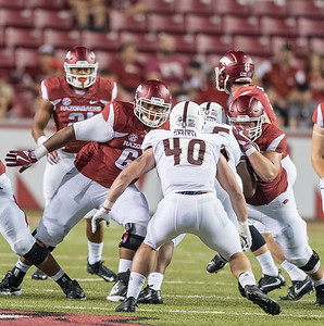 Arkansas Razorbacks offensive lineman Johnny Gibson (62) protects the backfield during a football game between the Arkansas Razorbacks and the Texas State Bobcats on Saturday, September 17, 2016.  (Alan Jamison, Nate Allen Sports Service)