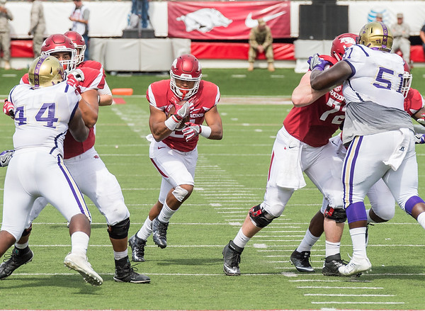 Arkansas Razorbacks running back Devwah Whaley (21) rushes during a football game between the Arkansas Razorbacks and the Alcorn State Braves on Saturday, October 1, 2016.  (Alan Jamison, Nate Allen Sports Service)