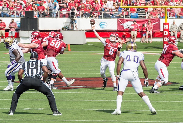 Austin Allen passes during a football game between the Arkansas Razorbacks and the Alcorn State Braves on Saturday, October 1, 2016.  (Alan Jamison, Nate Allen Sports Service)