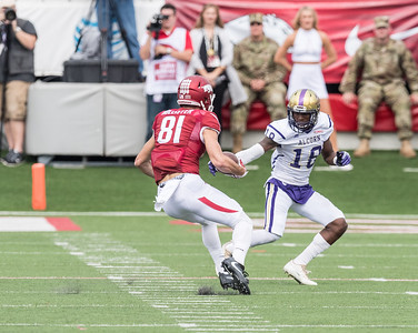 Arkansas Razorbacks wide receiver Cody Hollister (81) cuts by Alcorn State Braves defensive back LaShaun Ealey (18) to score a touchdown during a football game between the Arkansas Razorbacks and the Alcorn State Braves on Saturday, October 1, 2016.  (Alan Jamison, Nate Allen Sports Service)