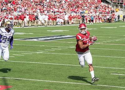 Arkansas Razorbacks wide receiver Jared Cornelius (1) scores during a football game between the Arkansas Razorbacks and the Alcorn State Braves on Saturday, October 1, 2016.  (Alan Jamison, Nate Allen Sports Service)