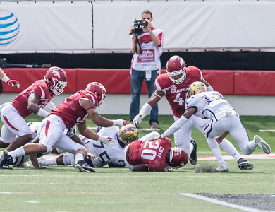 Arkansas Razorbacks defensive back De'Andre Coley (20) recovers an Alcorn State fumble during a football game between the Arkansas Razorbacks and the Alcorn State Braves on Saturday, October 1, 2016.  (Alan Jamison, Nate Allen Sports Service)