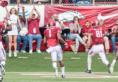 Arkansas Razorbacks wide receiver Cody Hollister (81) scores during a football game between the Arkansas Razorbacks and the Alcorn State Braves on Saturday, October 1, 2016.  (Alan Jamison, Nate Allen Sports Service)