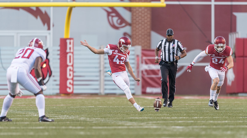 Arkansas Razorbacks place kicker Connor Limpert (42) with the opening kickoff during the football game between Arkansas and Alabama on Saturday, October 8, 2016.  (Alan Jamison, Nate Allen Sports Service)