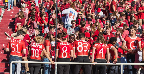 Razorback student section fans prepare for a football game between Arkansas and Alabama on Saturday, October 8, 2016.  (Alan Jamison, Nate Allen Sports Service)
