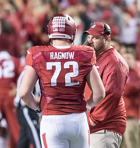 Arkansas Razorbacks offensive lineman Frank Ragnow (72) gets instructions during a football game between Arkansas and Alabama on Saturday, October 8, 2016.  (Alan Jamison, Nate Allen Sports Service)