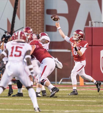 Arkansas Razorbacks quarterback Austin Allen (8) passes during a football game between Arkansas and Alabama on Saturday, October 8, 2016.  (Alan Jamison, Nate Allen Sports Service)