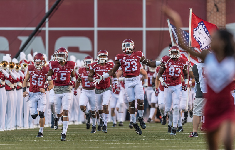 Players enter the field football game between Arkansas and Alabama on Saturday, October 8, 2016.  (Alan Jamison, Nate Allen Sports Service)