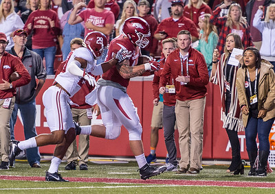 Arkansas Razorbacks tight end Austin Cantrell (44) with a catch and run during a football game between Arkansas and Alabama on Saturday, October 8, 2016.  (Alan Jamison, Nate Allen Sports Service)