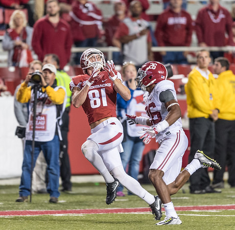 Arkansas Razorbacks wide receiver Cody Hollister (81) prepares to catch a pass during a football game between Arkansas and Alabama on Saturday, October 8, 2016.  (Alan Jamison, Nate Allen Sports Service)