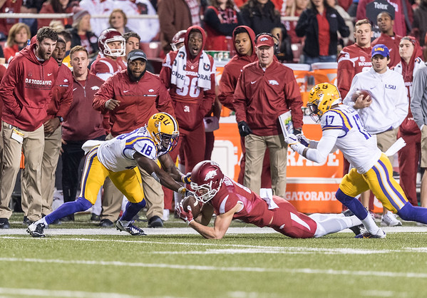 Arkansas Razorbacks wide receiver Cody Hollister (81) recovers a fumble by punt returner Tre'Davious White (18) during a football game between Arkansas and LSU on Saturday, November 12, 2016.  (Alan Jamison, Nate Allen Sports Service)