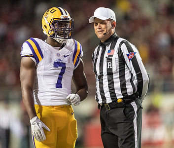 LSU Tigers running back Leonard Fournette (7) chats with an official during a football game between Arkansas and LSU on Saturday, November 12, 2016.  (Alan Jamison, Nate Allen Sports Service)