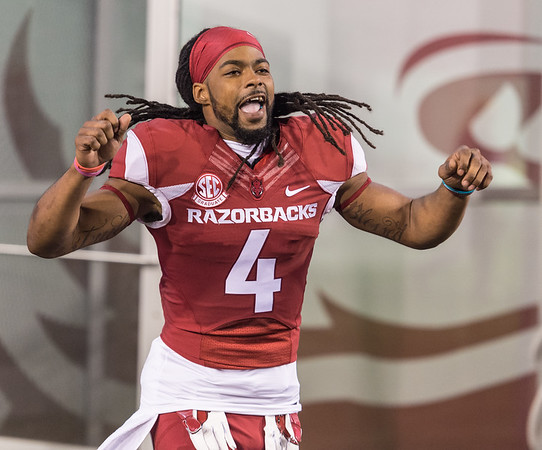 Senior Arkansas Razorbacks wide receiver Keon Hatcher (4) is recognized before the football game between Arkansas and LSU on Saturday, November 12, 2016.  (Alan Jamison, Nate Allen Sports Service)