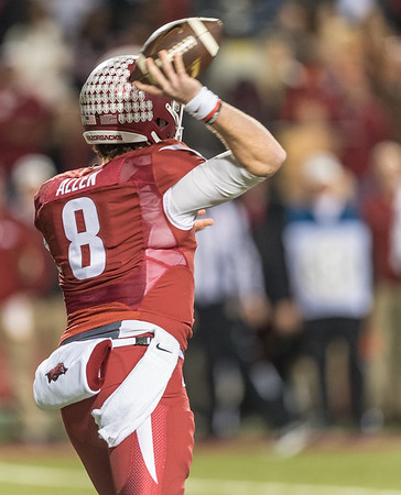 Arkansas Razorbacks quarterback Austin Allen (8) throws during a football game between Arkansas and LSU on Saturday, November 12, 2016.  (Alan Jamison, Nate Allen Sports Service)