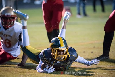Junior from Seneca Valley High School Derell Beckett-Simms skids into the end zone scoring Seneca Valley another touchdown.