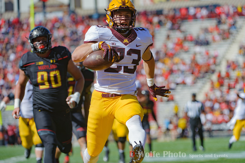 Minnesota's Shannon Brooks bring it across the goal line without anyone nearby to stop him.