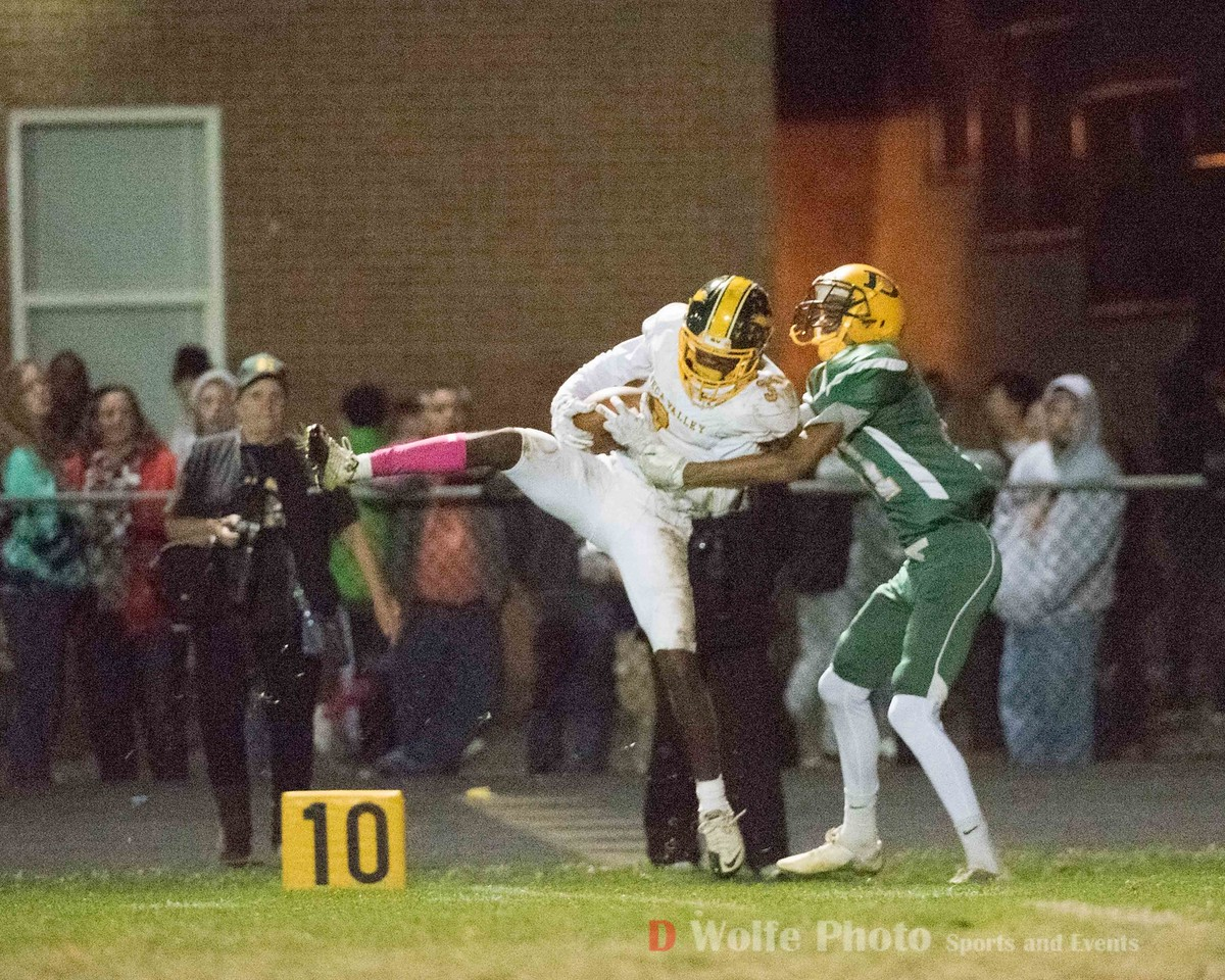 One of the few bright spots late in the game when Seneca Valley's Dawayne Kelley picked one out of sky for Seneca's first interception of the night.