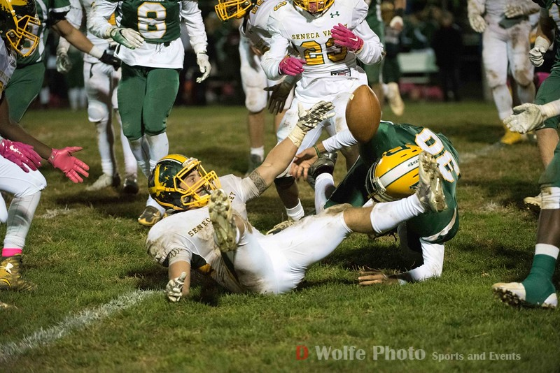 Seneca Valley's Adrian Felix-Platt  errors on a punt return, losing the ball and tunring it over to Damascus.
