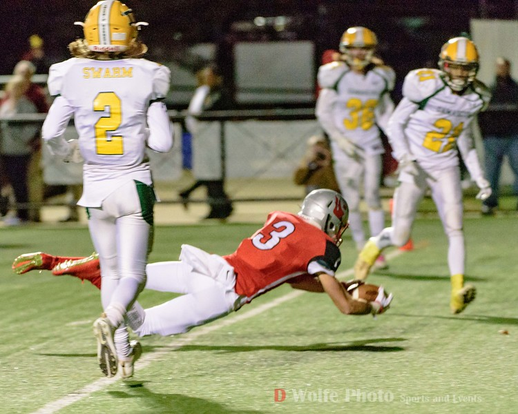 Wide receiver from Blair High school dives over the goal line.