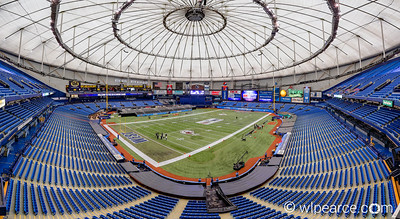 Tropicana Field in football configuration for the East-West Shrine Bowl.  A 35 shot composite.
