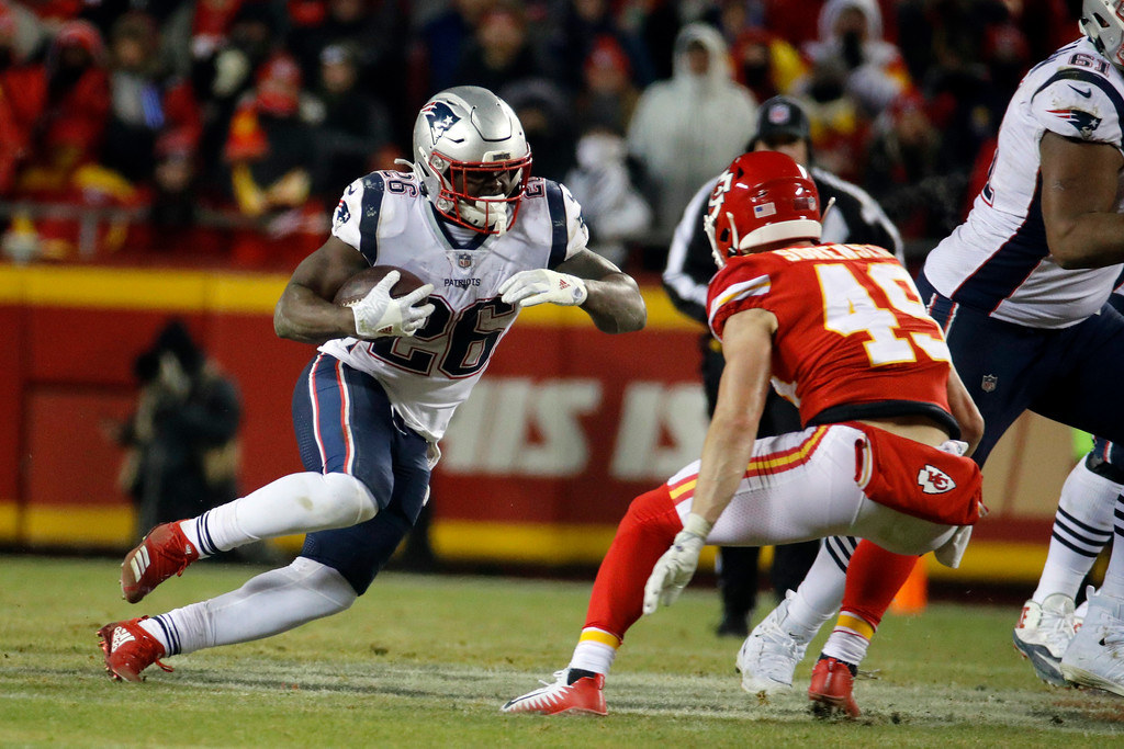 . New England Patriots running back Sony Michel (26) during the second half of the AFC Championship NFL football game, Sunday, Jan. 20, 2019, in Kansas City, Mo. (AP Photo/Charlie Riedel)